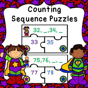 Ordering Numbers Game Puzzles for Counting to 100 Center A