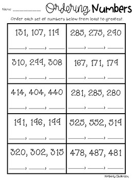 Ordering Numbers (3 Digit and 4 Digit): Greatest to Least ...