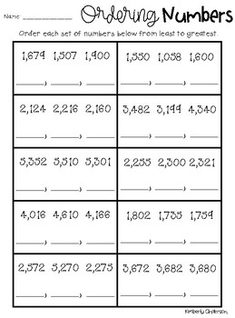 Ordering Numbers (3 Digit and 4 Digit): Greatest to Least / Least to Greatest