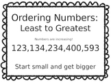 Ordering Numbers Anchor Charts