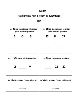 Ordering Numbers Assessment