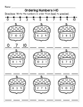 Ordering Numbers Least to Greatest - Fall Theme