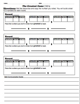 Ordering Numbers Game Sheets