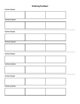 Ordering Numbers Graphic Organiser