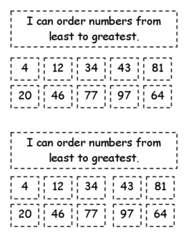 Ordering Numbers Interactive Notebook Page