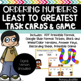 Ordering Numbers Least to Greatest Task Cards and Game (Digital Version Too)