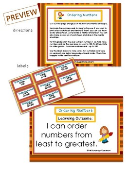 Ordering Numbers Math Center