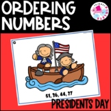 Ordering Numbers Math Center President's Day February Set