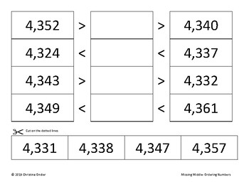 Ordering Numbers- Missing Middle