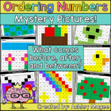 Ordering Numbers Mystery Pattern Pictures - Before, After, Between (Common Core)