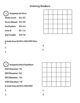 Ordering Numbers Practice Problems