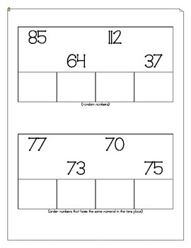 Ordering Numbers Pre-Test