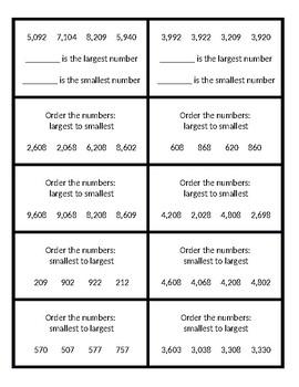 Ordering Numbers Task Cards