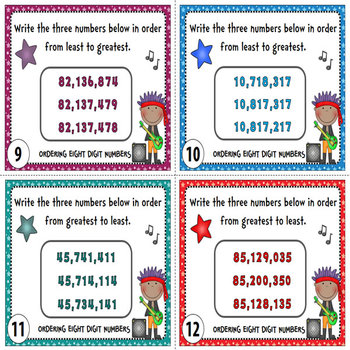 Ordering Numbers Task Cards {Order Greater Numbers - 6 to 10 Digits}
