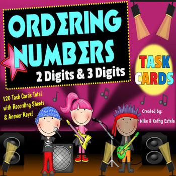 Ordering Numbers Task Cards {Order Two-Digit and Three-Dig