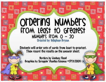 Ordering Numbers from Least to Greatest {0-20} by First Grade ...
