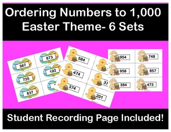 Ordering Numbers up to 1,000 Easter Theme- Hands on Activity