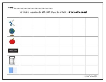 Ordering Numbers up to 1,000- Hands on Activity