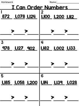 Ordering Numbers up to 120 Homework