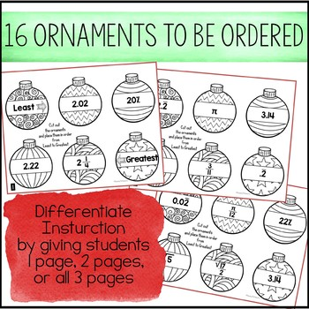 Ordering Ornaments - A Christmas Math Activity for Ordering Real Numbers
