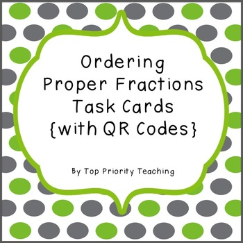 Proper Fractions Task Cards with QR Codes
