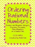Ordering Rational Numbers Activity CCSS 6.NS.6