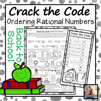 Ordering Rational Numbers Back to School Activity
