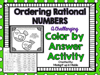 Ordering Rational Numbers Color by Answer Activity