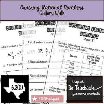 Ordering Rational Numbers Gallery Walk (STAAR Test Prep / 6.2D)