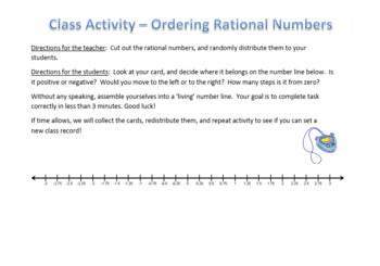 Ordering Rational Numbers - Human Number Line! - Active Math | TpT