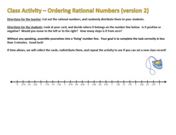 Ordering Rational Numbers - Human Number Line Version 2! - Active Math