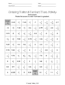 Ordering Rational Numbers Maze