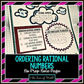 Ordering Rational Numbers No Prep Note Page