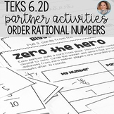 Ordering Rational Numbers Partner Activities and Games - TEKS 6.2D