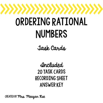 Ordering Rational Numbers Task Cards
