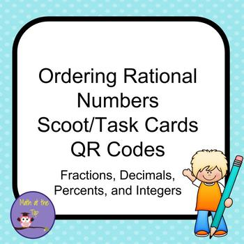 Ordering Rational Numbers Task Cards QR codes