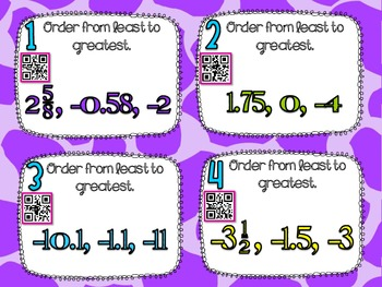 Ordering Rational Numbers**QR CODE Task Cards**