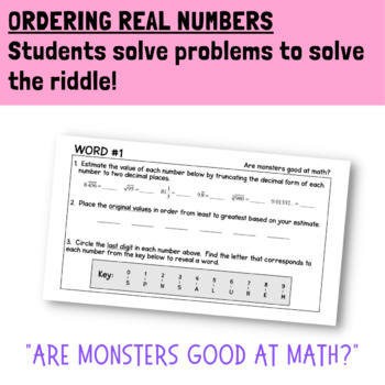 Ordering Real Numbers Activity Game