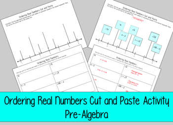 Ordering Real Numbers Cut and Paste