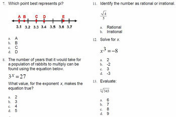 Ordering Real Numbers ExamView Question Math Test Bank PreAlgebra
