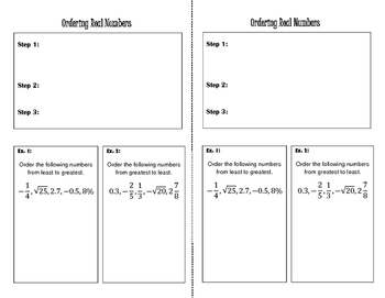 Ordering Real Numbers - Interactive Notebook
