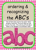 Ordering & Recognizing ABC fonts