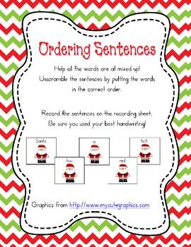 Ordering Sentences December themed