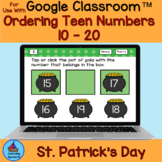 Ordering Teen Numbers Before After and Between St Patrick'