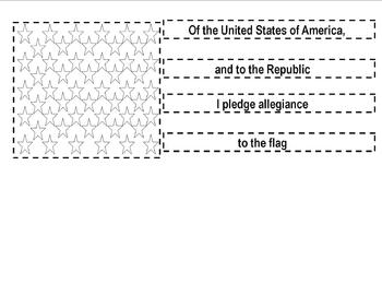 Ordering The Pledge of Allegience Cut and Paste (This will build a flag.)