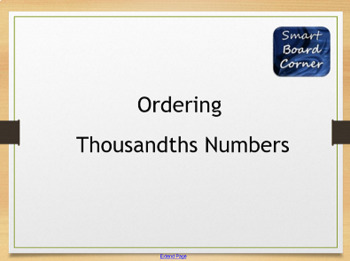 Ordering Thousandths Numbers SMART Board Lesson with SMART Lab