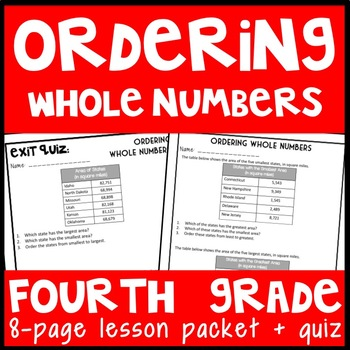 Ordering Whole Numbers: Guided Notes and Exit Quiz