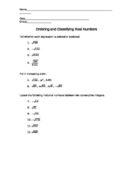 Ordering and Classifying Real Numbers Worksheet by Ashley Wallace