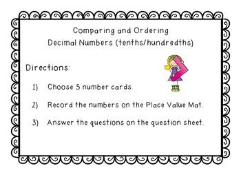 Ordering and Comparing Decimal Tenths and Hundredths Math Center