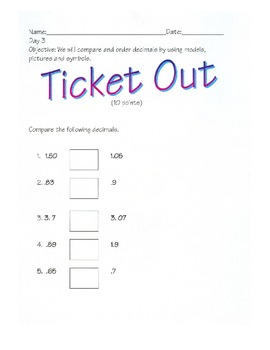 Ordering and Comparing Decimals- By: Ms. Bisker